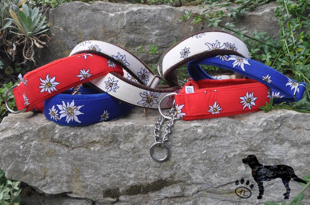 Auch dabei: Halsbänder mit Stoff Edelweiß