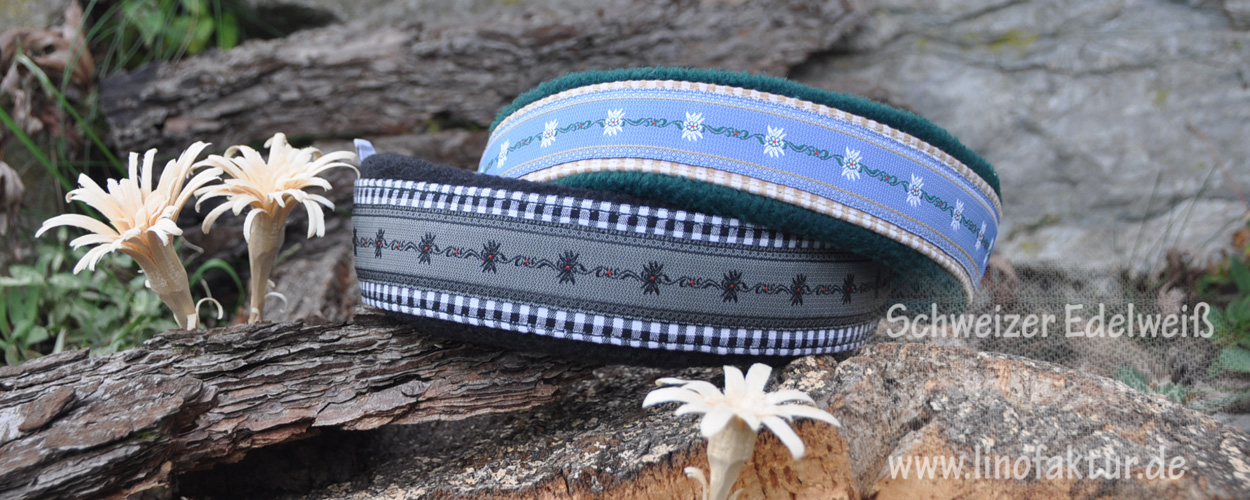Halsbänder der linofaktur mit dem Webband Schweizer Edelweiß