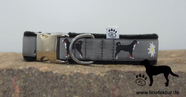 linofaktur: Webband Appenzeller Sennenhund 25mm Aluschließe